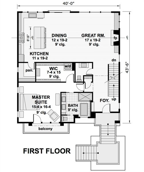 1st Floor Plan image of Featured House Plan: BHG - 1974