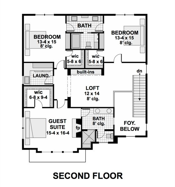 2nd Floor Plan image of Featured House Plan: BHG - 1974