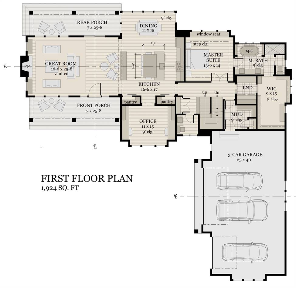 1st Floor Plan image of Featured House Plan: BHG - 2004