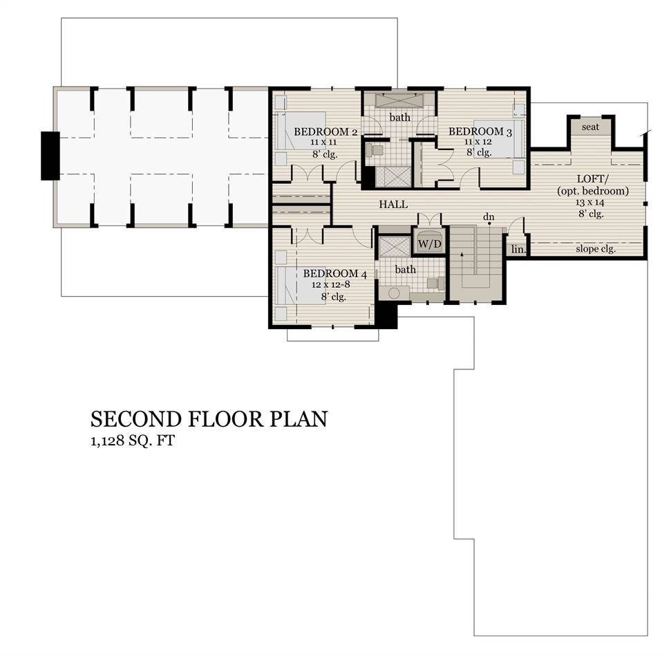 2nd Floor Plan image of Featured House Plan: BHG - 2004