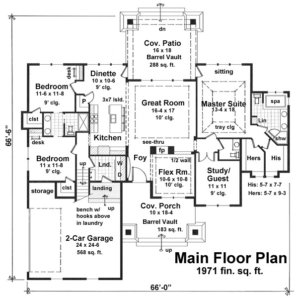 1st Floor Plan image of Featured House Plan: BHG - 9663
