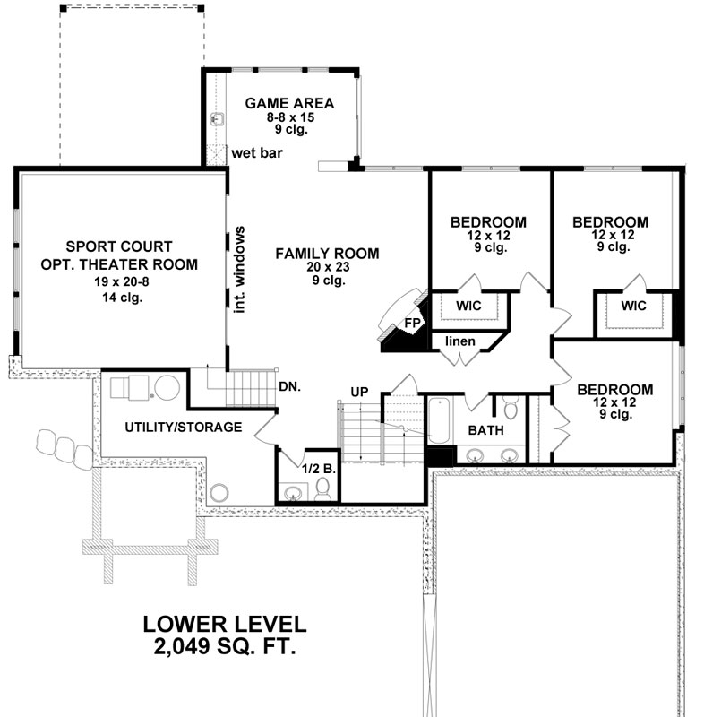 Lower Level Floor Plan image of Featured House Plan: BHG - 9682