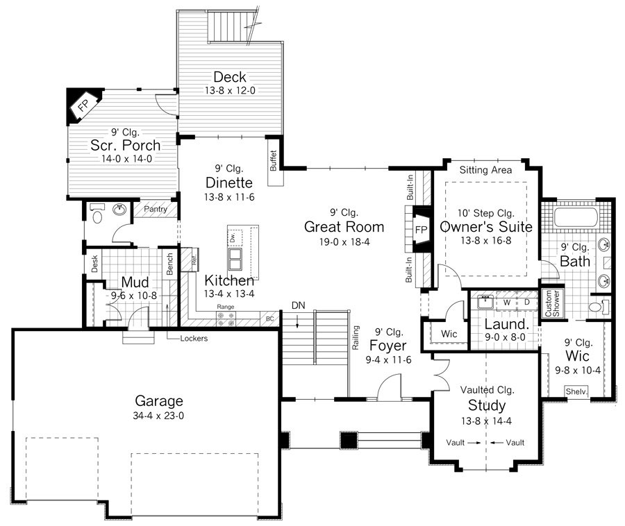 1st Floor Plan image of Featured House Plan: BHG - 9667