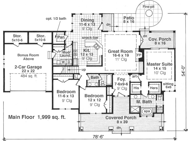 1st Floor Plan image of Featured House Plan: BHG - 9664