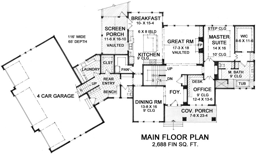 1st Floor Plan image of Featured House Plan: BHG - 9666