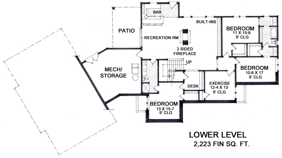 Lower Level Floor Plan image of Featured House Plan: BHG - 9666