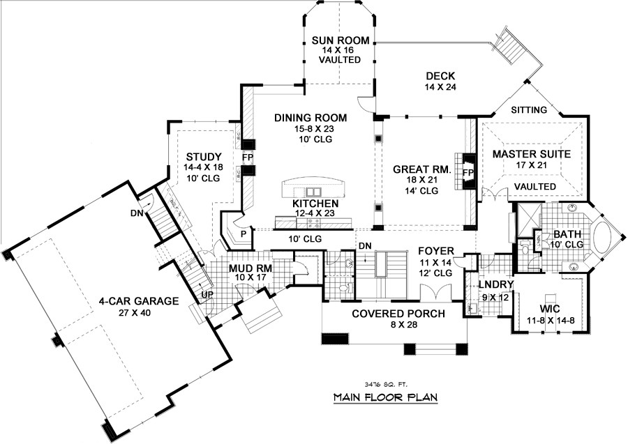 1st Floor Plan image of Featured House Plan: BHG - 9668