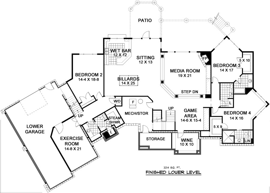 Lower Level Floor Plan image of Featured House Plan: BHG - 9668