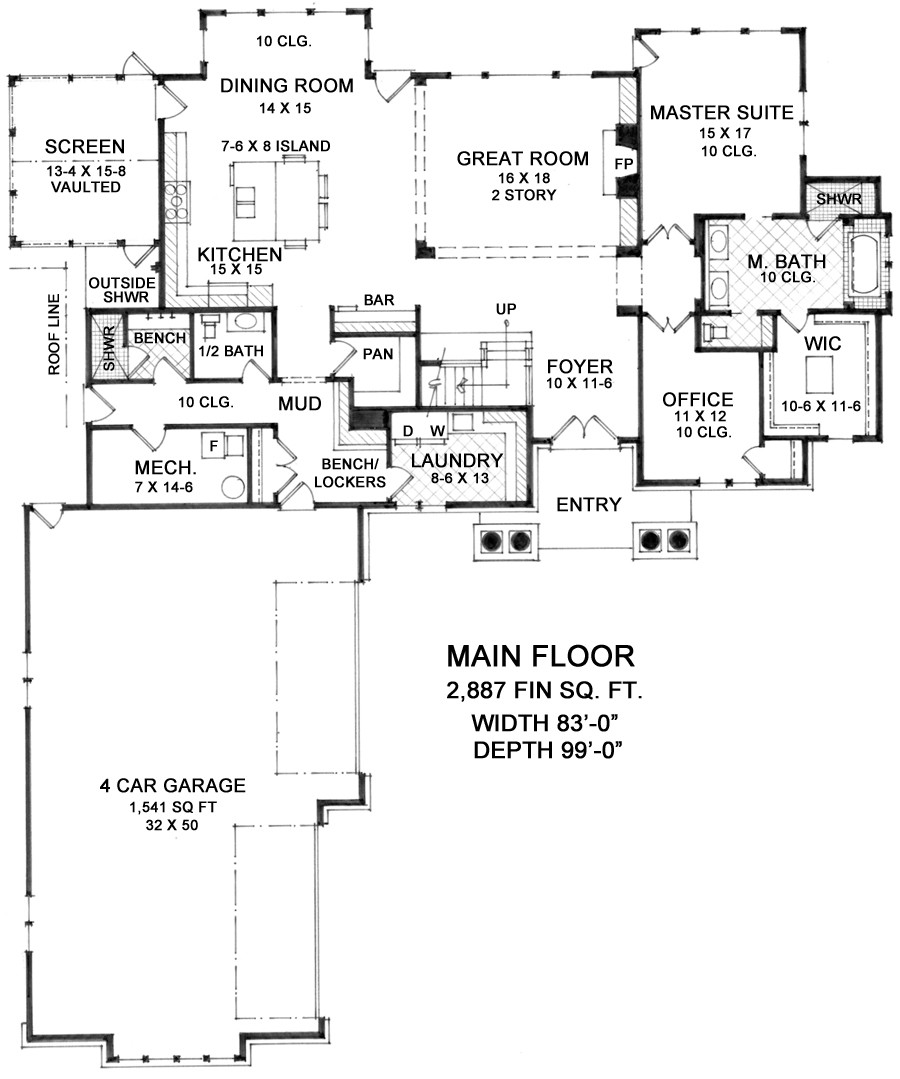 1st Floor Plan image of Featured House Plan: BHG - 9674