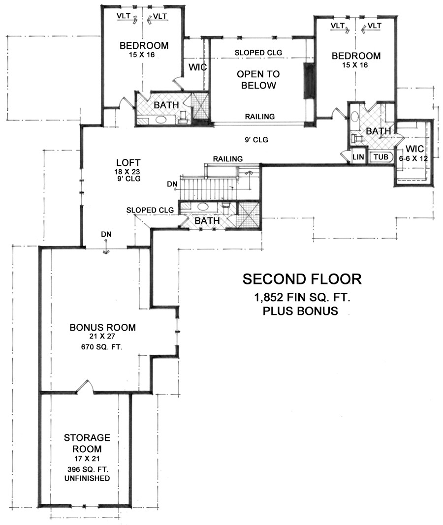 2nd Floor Plan image of Featured House Plan: BHG - 9674