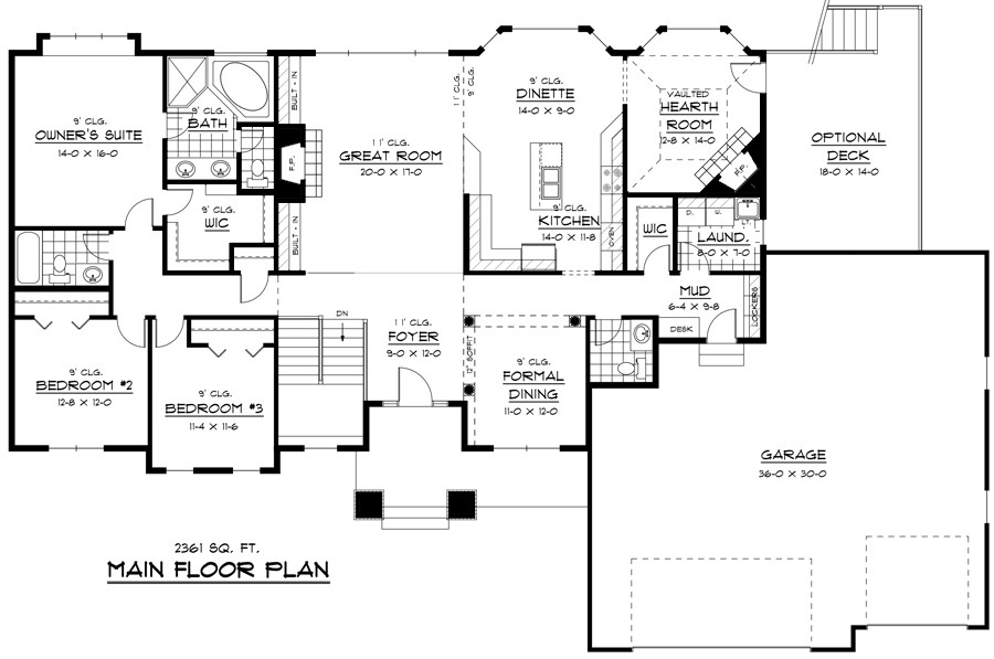 1st Floor Plan image of Featured House Plan: BHG - 9683
