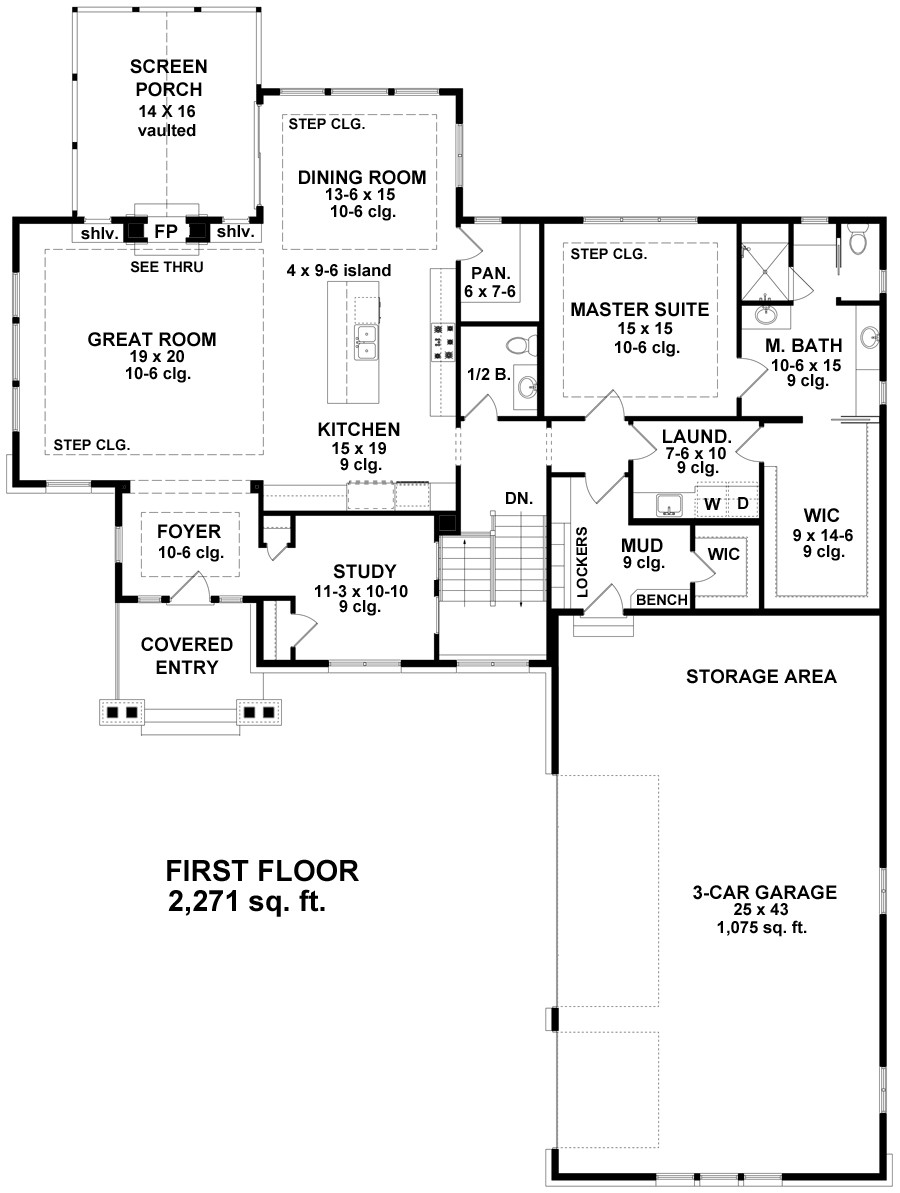1st Floor Plan image of Featured House Plan: BHG - 9682