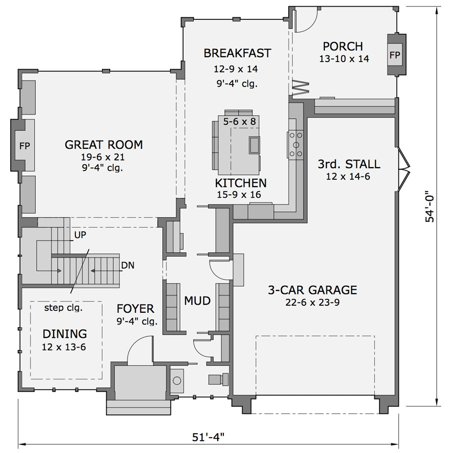 1st Floor Plan image of Featured House Plan: BHG - 9680