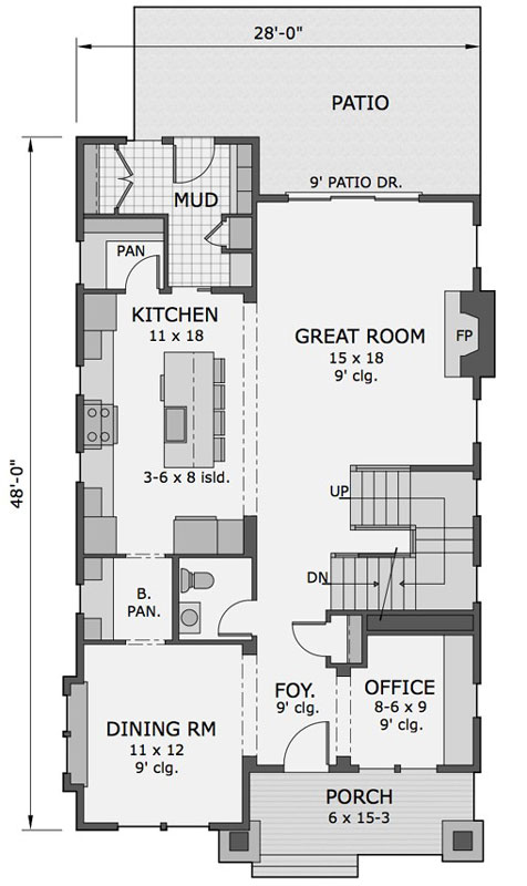 1st Floor Plan image of Featured House Plan: BHG - 9733