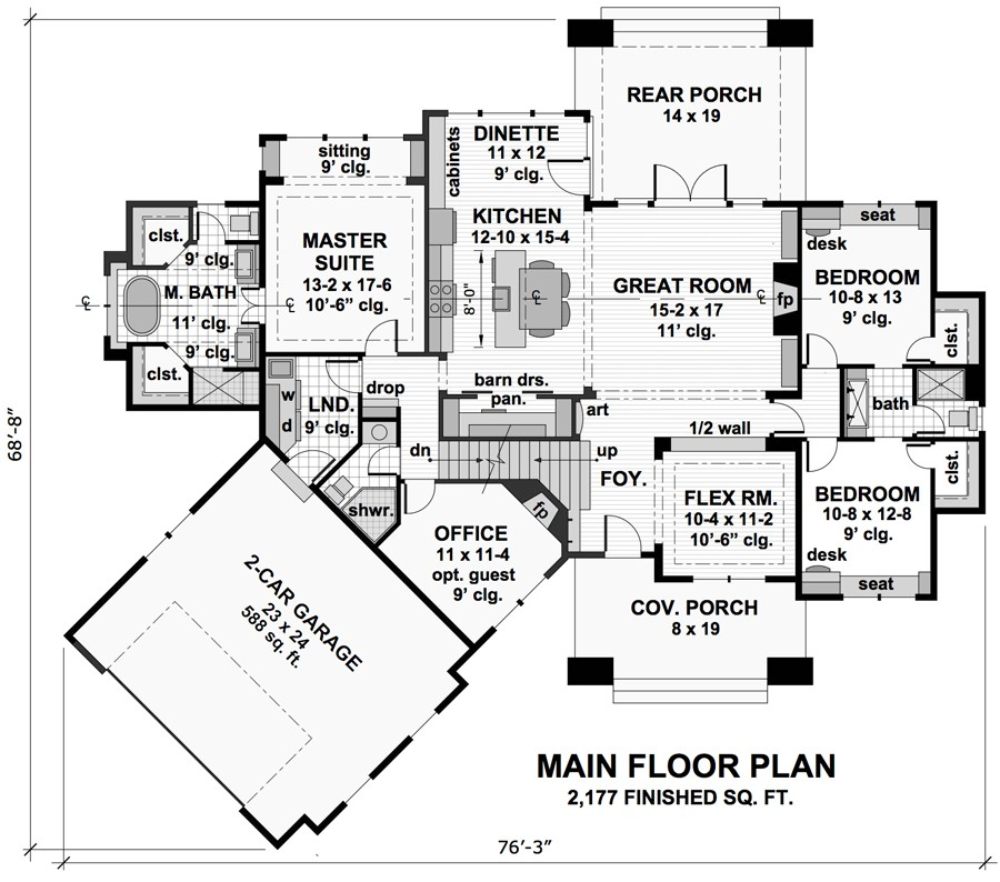 1st Floor Plan image of Featured House Plan: BHG - 9720