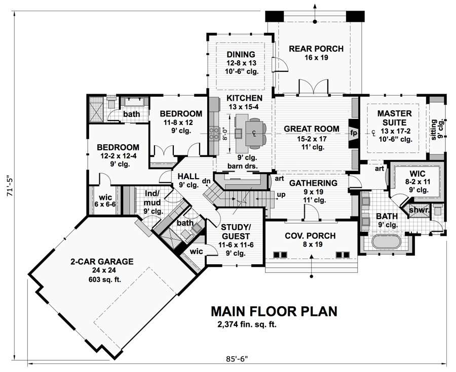 1st Floor Plan image of Featured House Plan: BHG - 9717