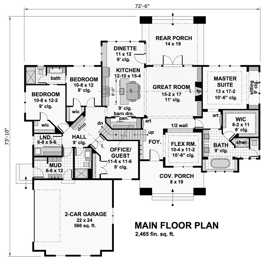1st Floor Plan image of Featured House Plan: BHG - 9716