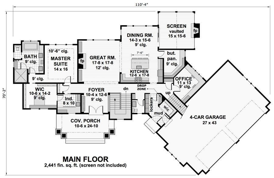 1st Floor Plan image of Featured House Plan: BHG - 9734