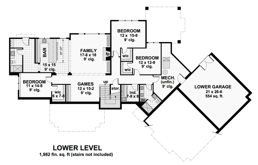 Lower Level Floor Plan image of Featured House Plan: BHG - 9734