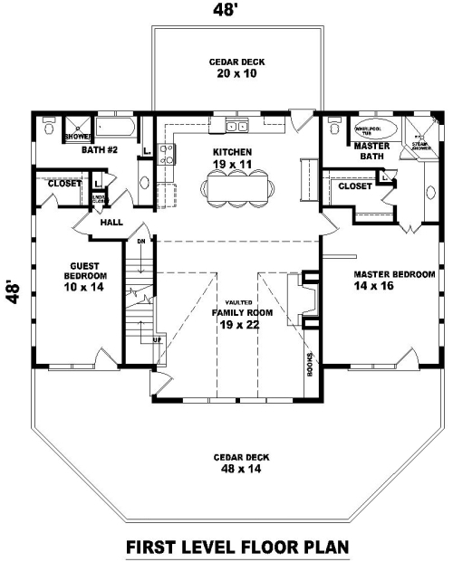 1st Level image of Featured House Plan: BHG - 8490