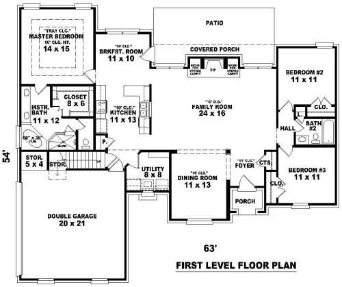 1st Level image of Featured House Plan: BHG - 8492