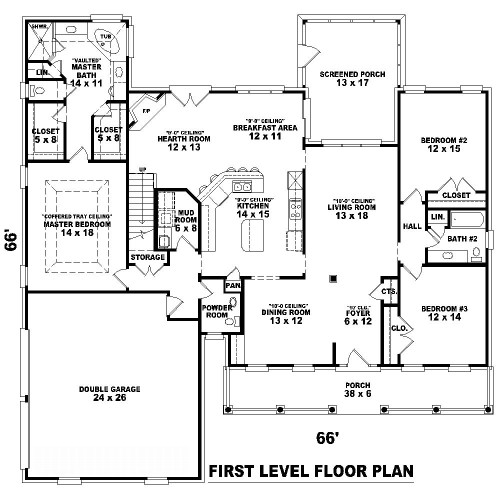1st Level image of Featured House Plan: BHG - 8503