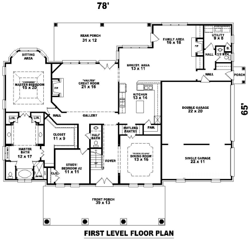 1st Level image of Featured House Plan: BHG - 8155