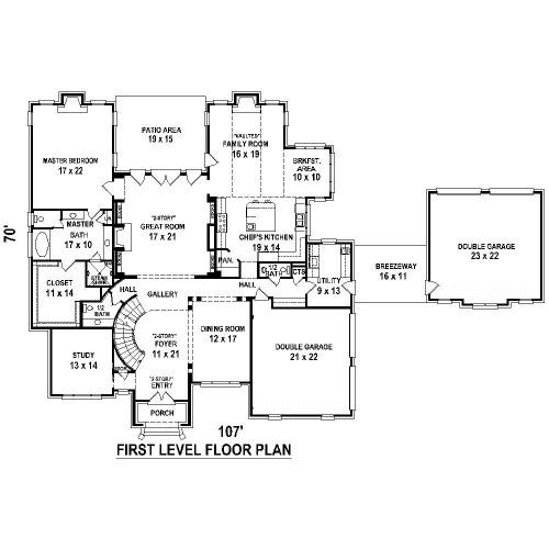 1st Level image of Featured House Plan: BHG - 8507