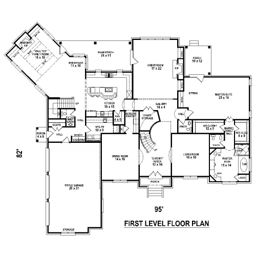 1st Level image of Featured House Plan: BHG - 8511