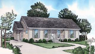image of Country two-bedroom open floor plan House Plan