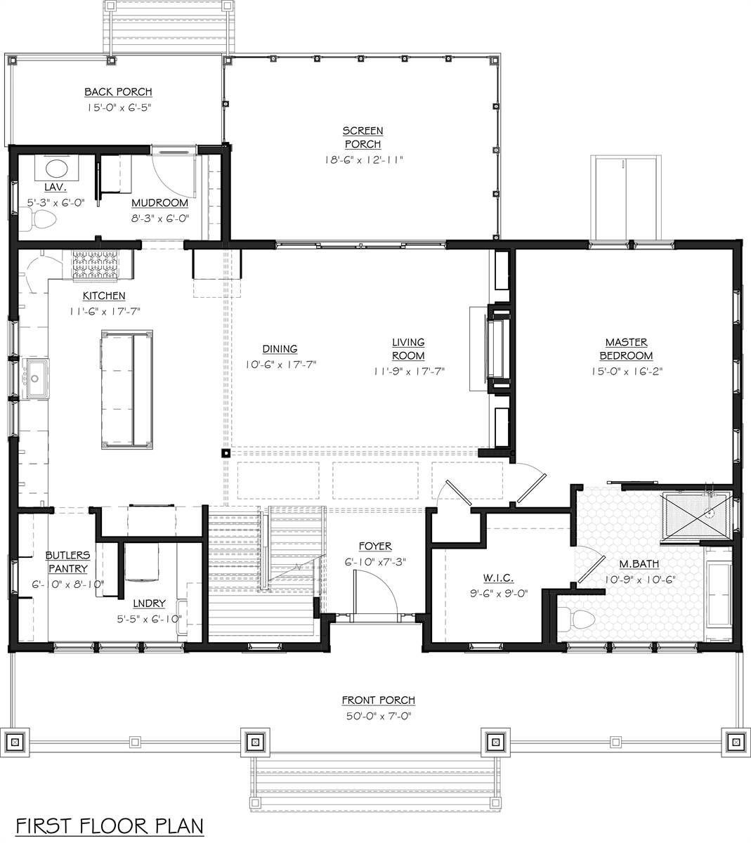 First Floor Plan image of Featured House Plan: BHG - 7055