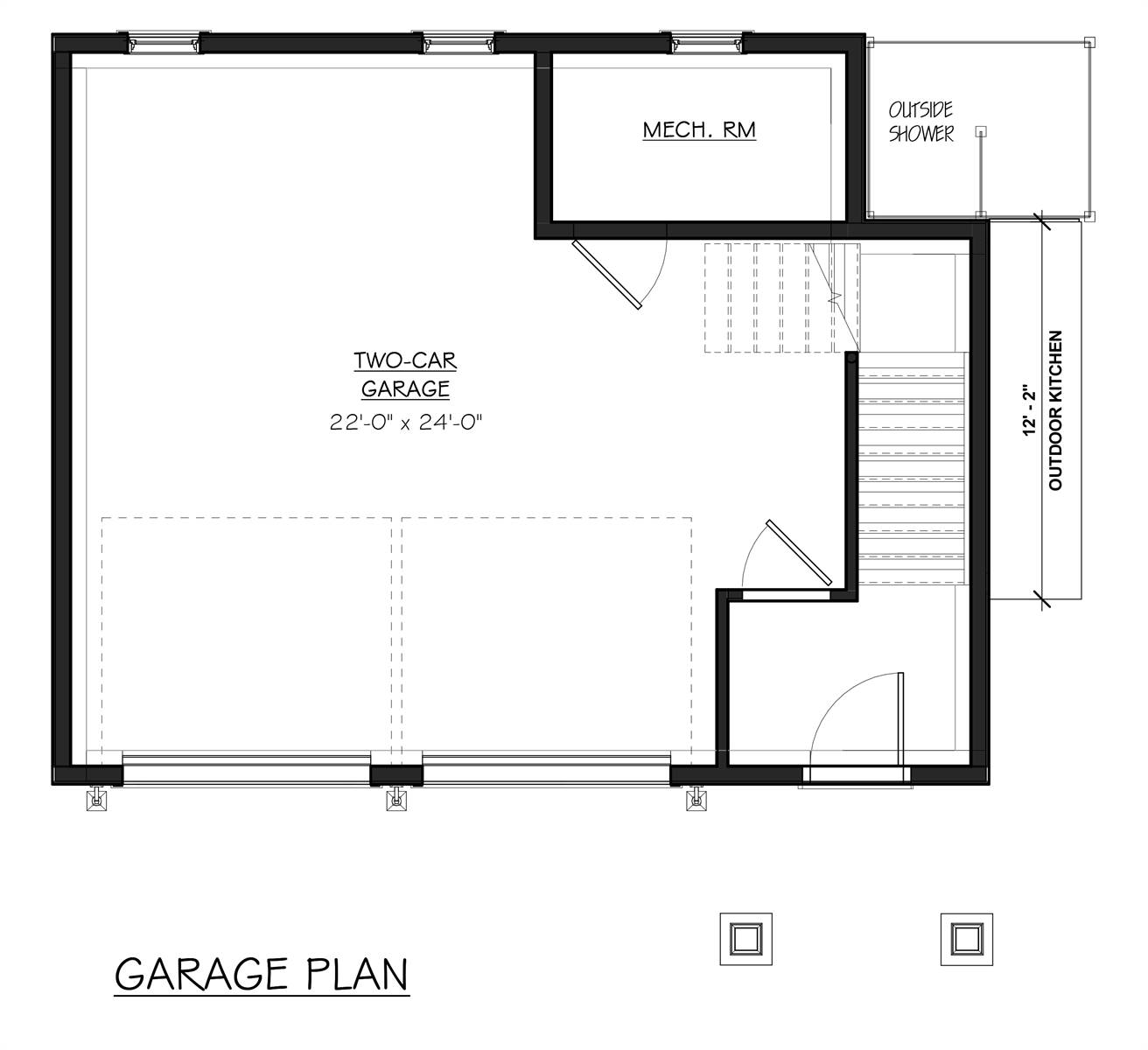 Garage Floor Plan image of Featured House Plan: BHG - 7055
