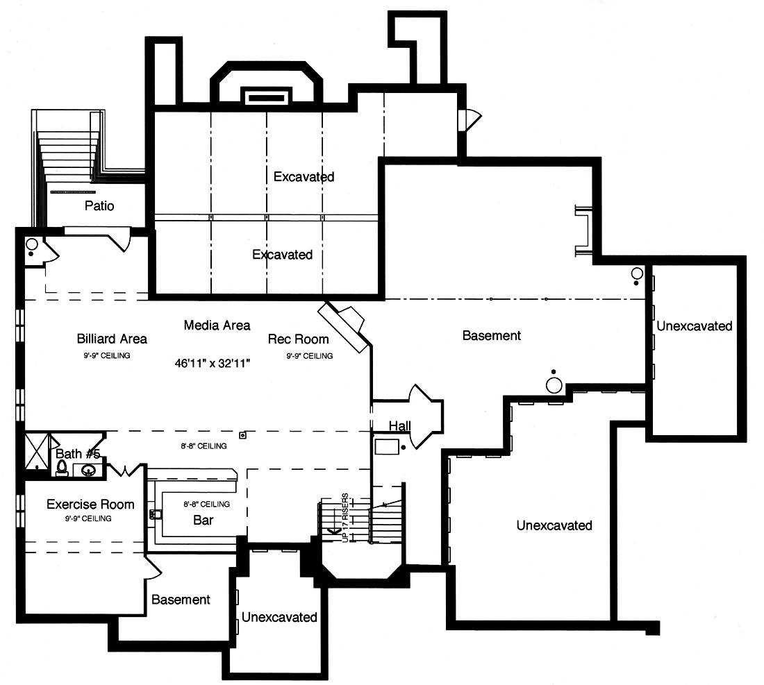 Basement Floor Plan image of Featured House Plan: BHG - 9107