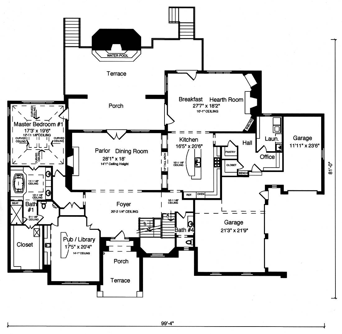 First Floor Plan image of Featured House Plan: BHG - 9107