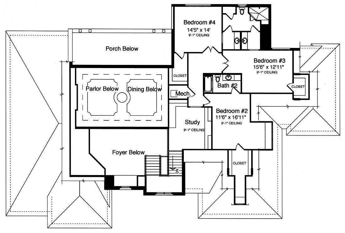 Second Floor Plan image of Featured House Plan: BHG - 9107