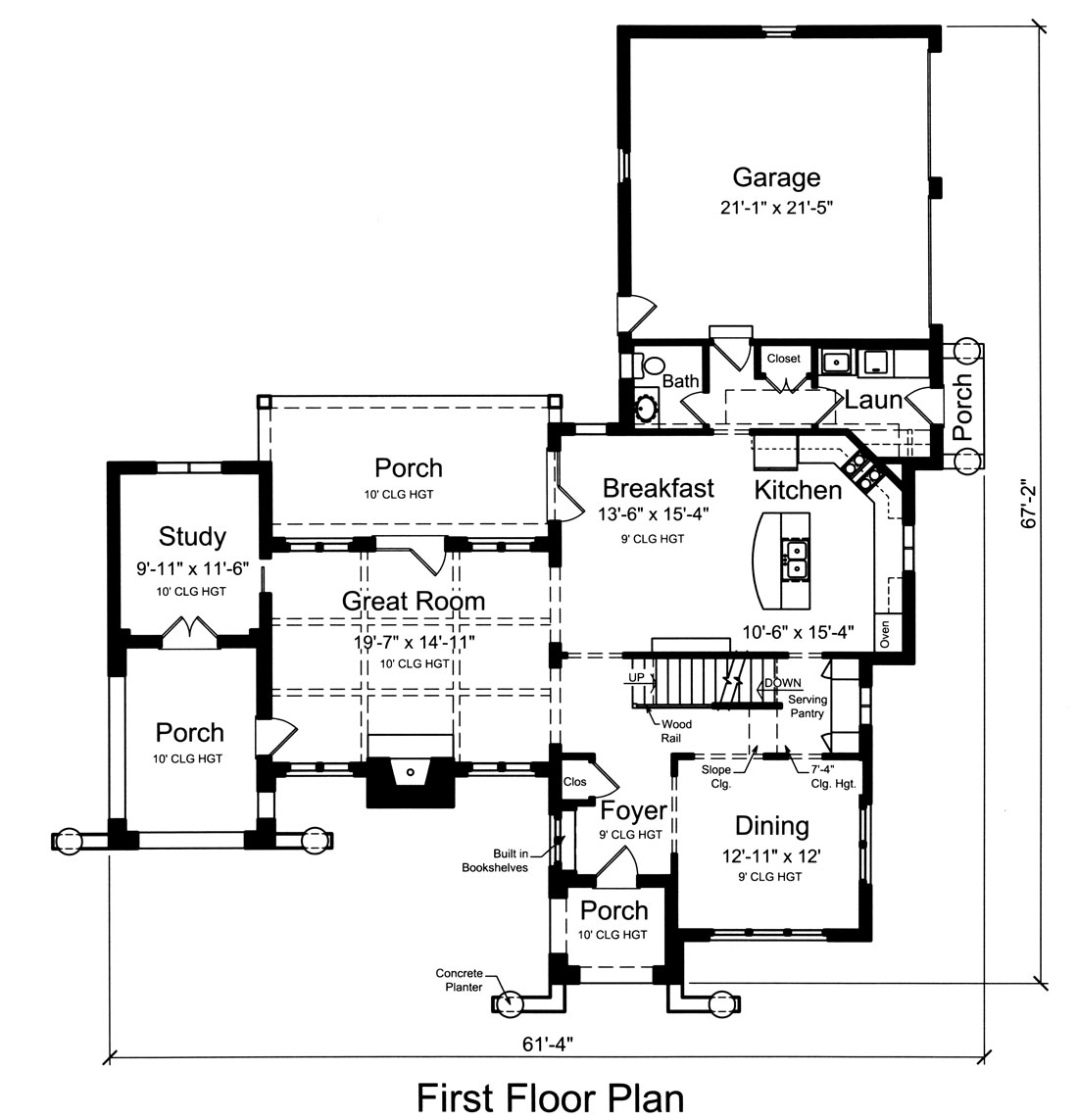 1st Floor Plan image of Featured House Plan: BHG - 9104