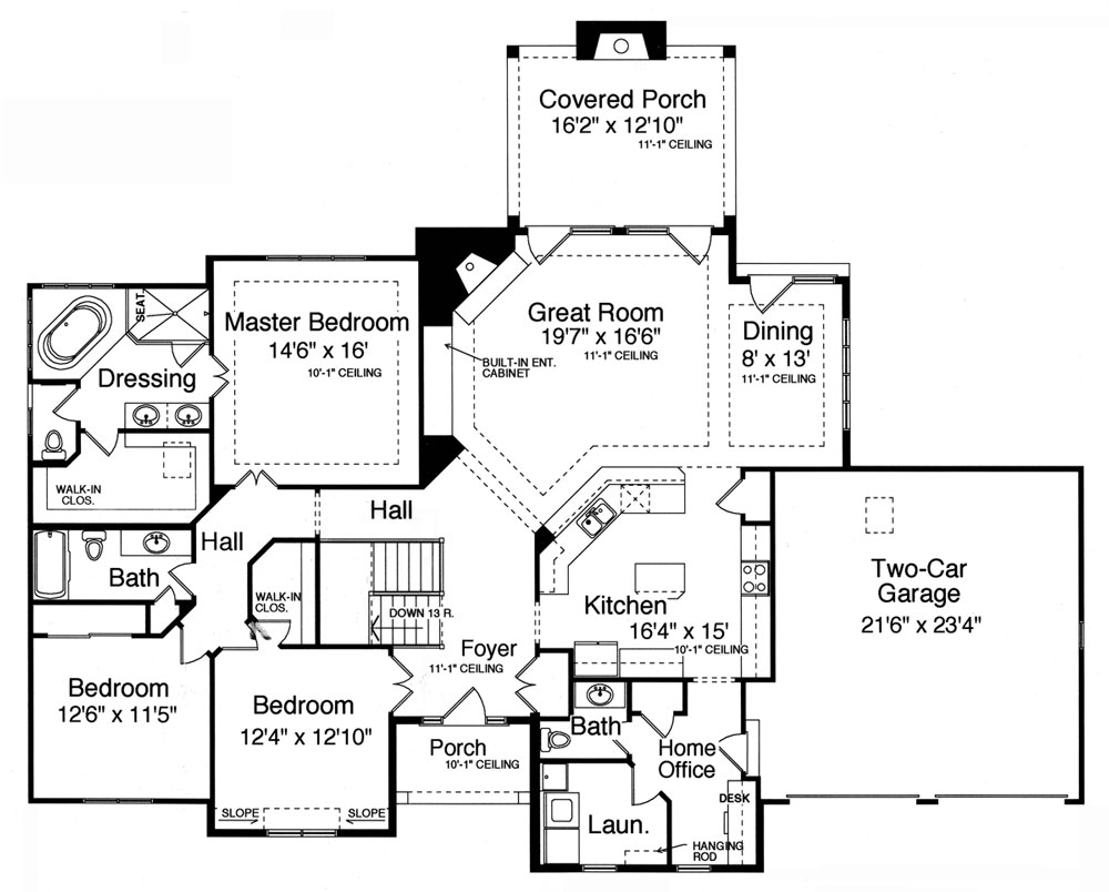 1st Floor Plan image of Featured House Plan: BHG - 9078