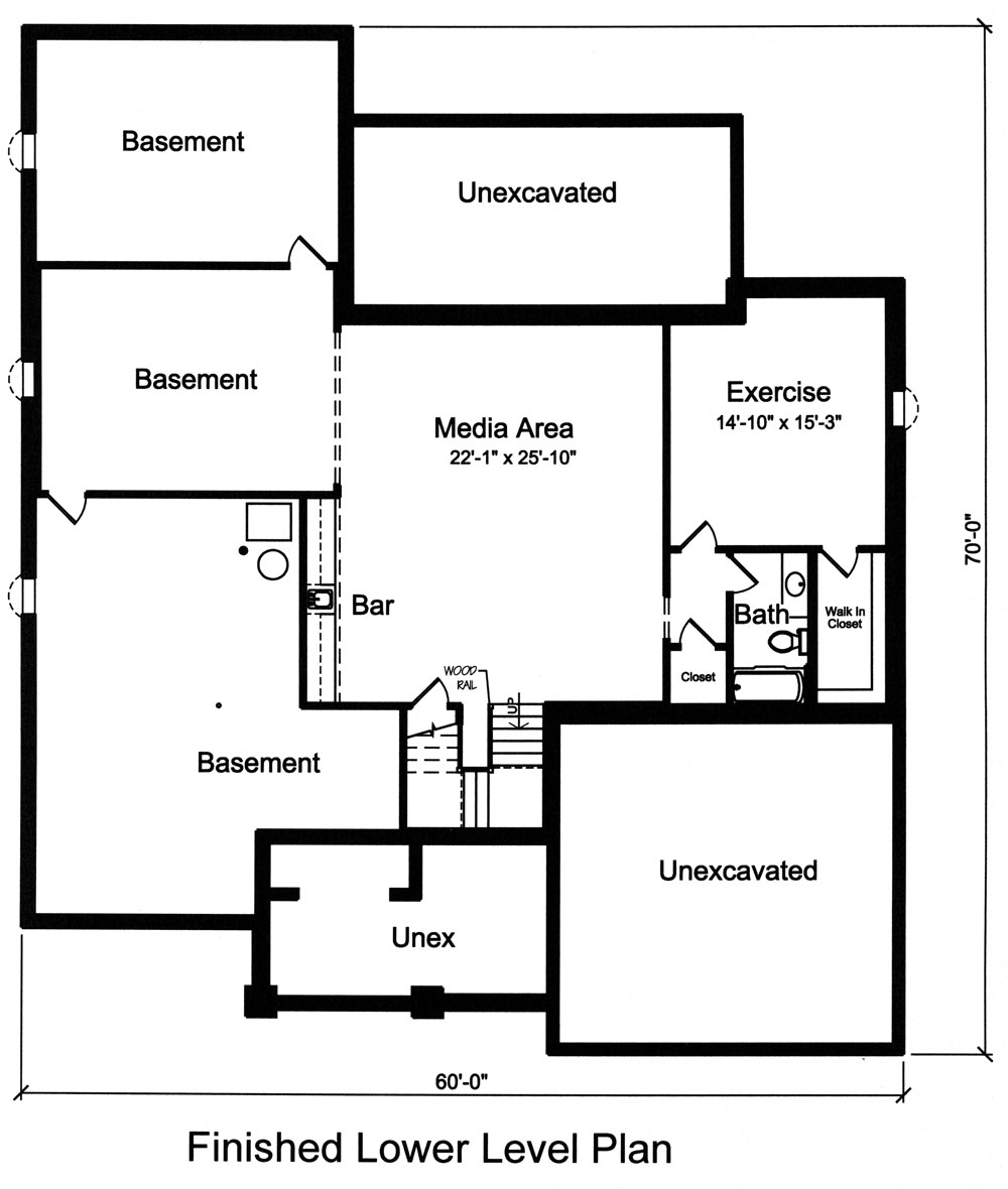 Basement Floor Plan image of Featured House Plan: BHG - 9042