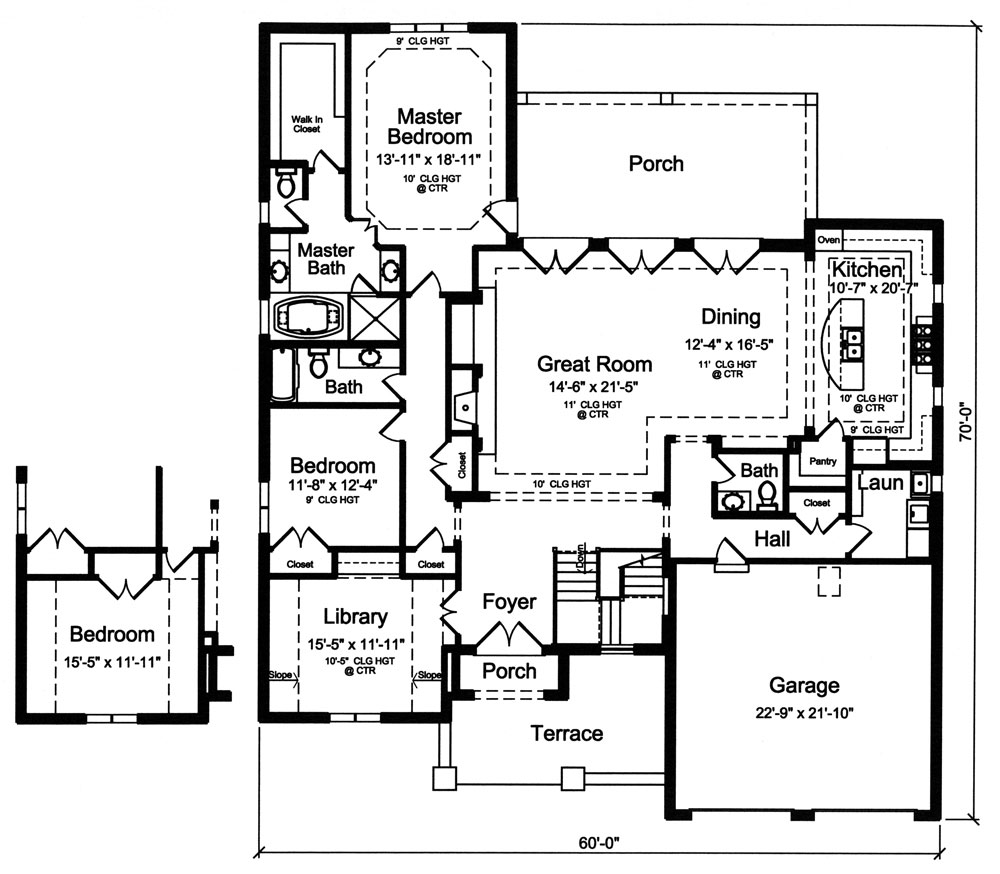 1st Floor Plan image of Featured House Plan: BHG - 9042