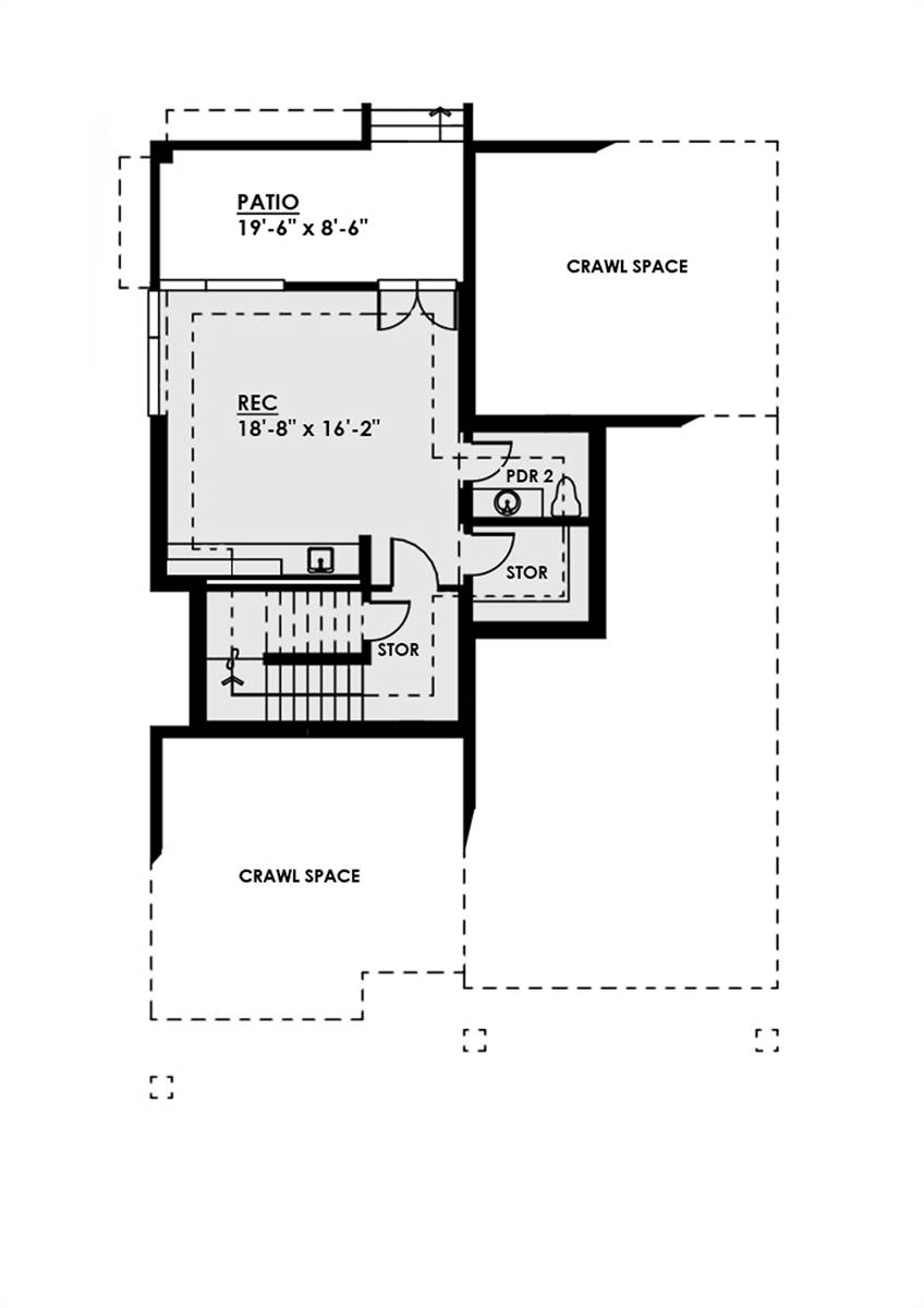 Lower Level Plan image of Featured House Plan: BHG - 4547