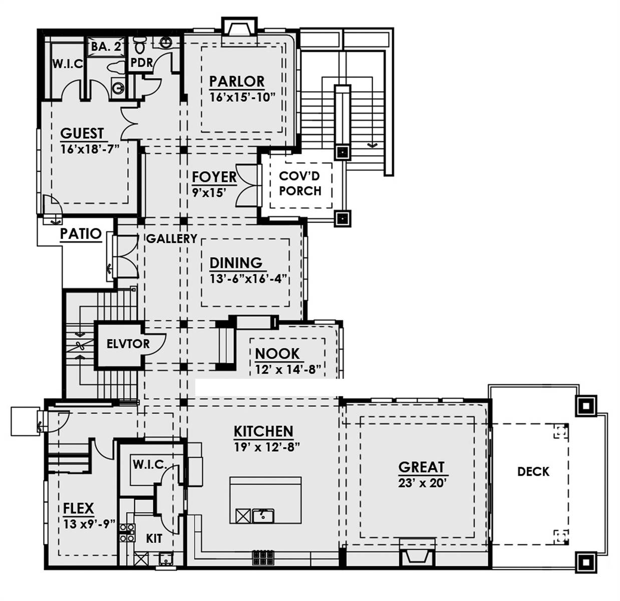 1st Floor Plan image of Featured House Plan: BHG - 7882