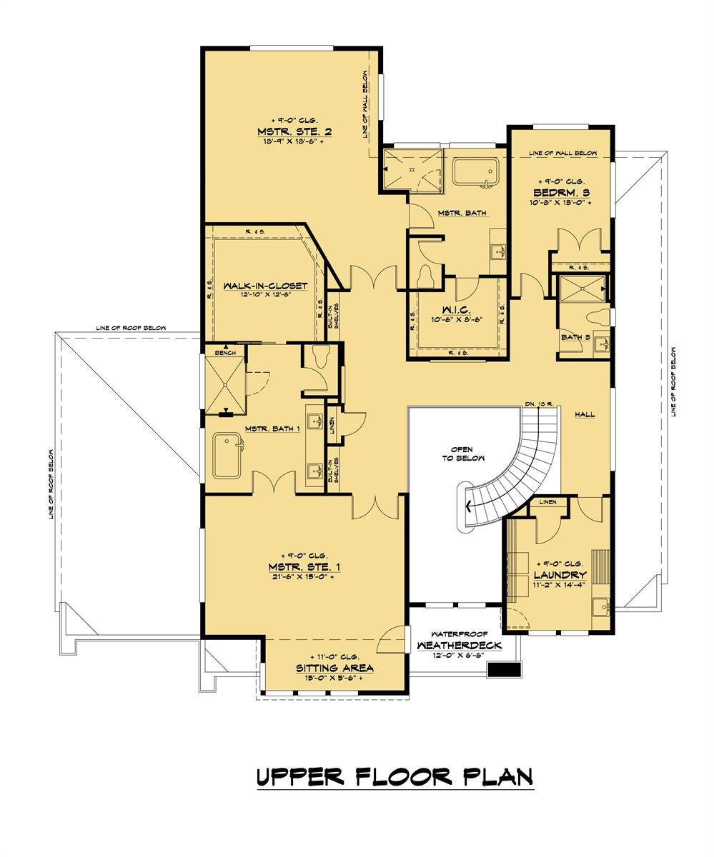 2nd Floor image of Two Story Contemporary Style with RV Garage House Plan 8744