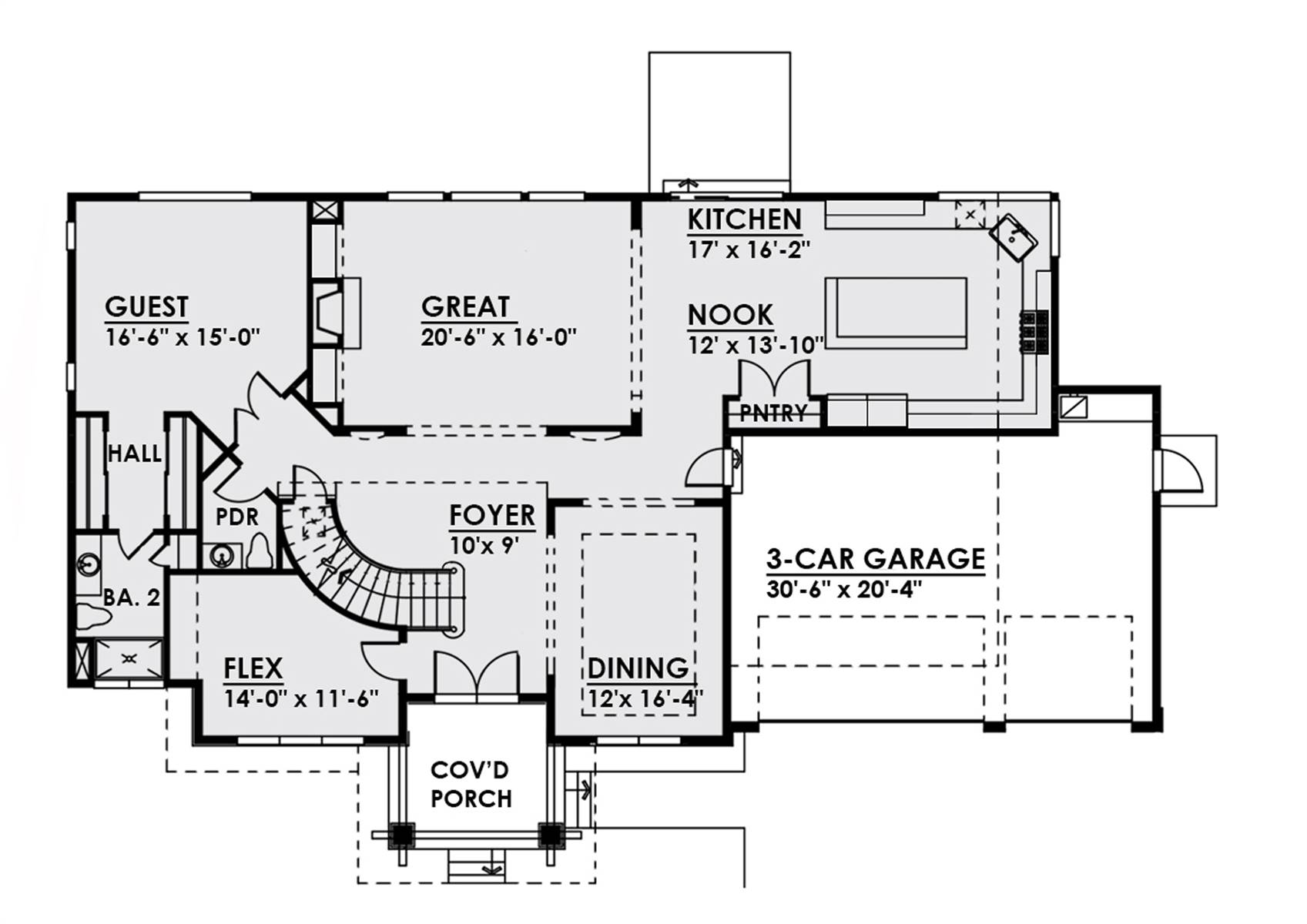 1st Floor image of Luxury Two Story Contemporary Style House Plan 8766