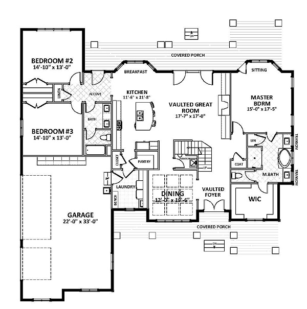 1st Floor image of Featured House Plan: BHG - 2057