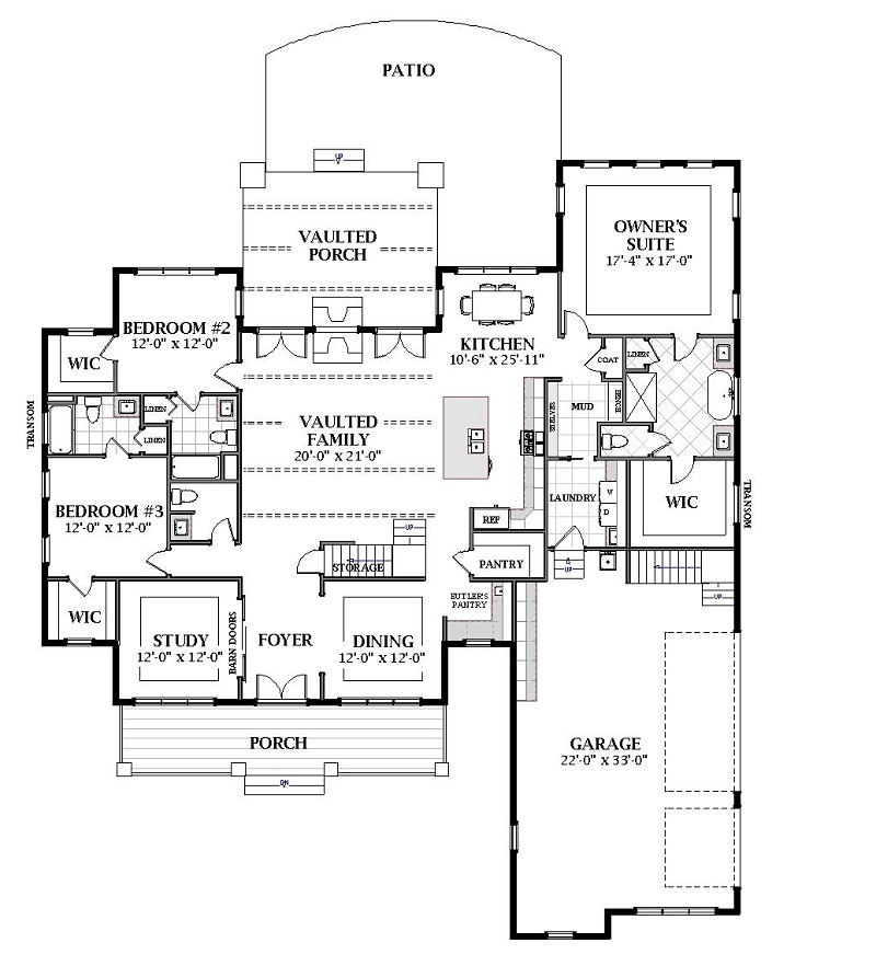 First Floor image of Featured House Plan: BHG - 7057