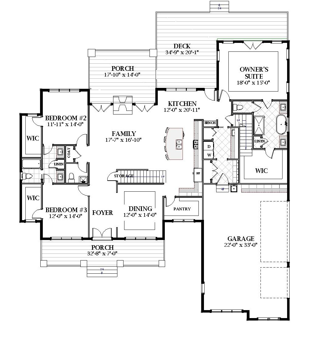 First Floor image of Featured House Plan: BHG - 7058