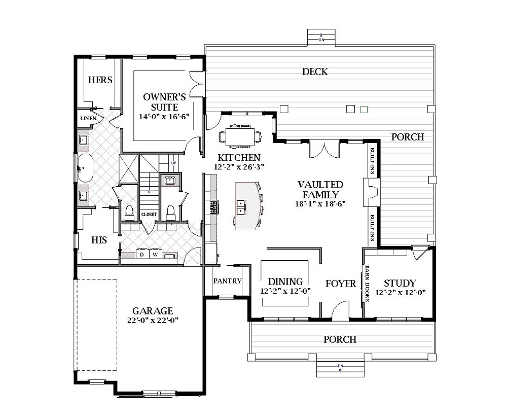 First Floor image of Featured House Plan: BHG - 7059