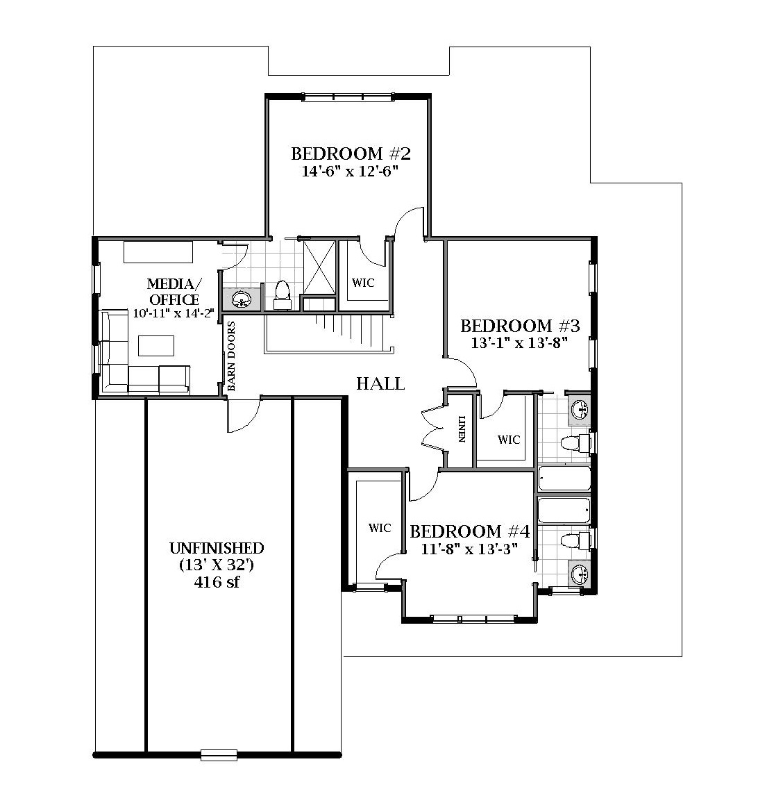2nd Floor image of Featured House Plan: BHG - 7061