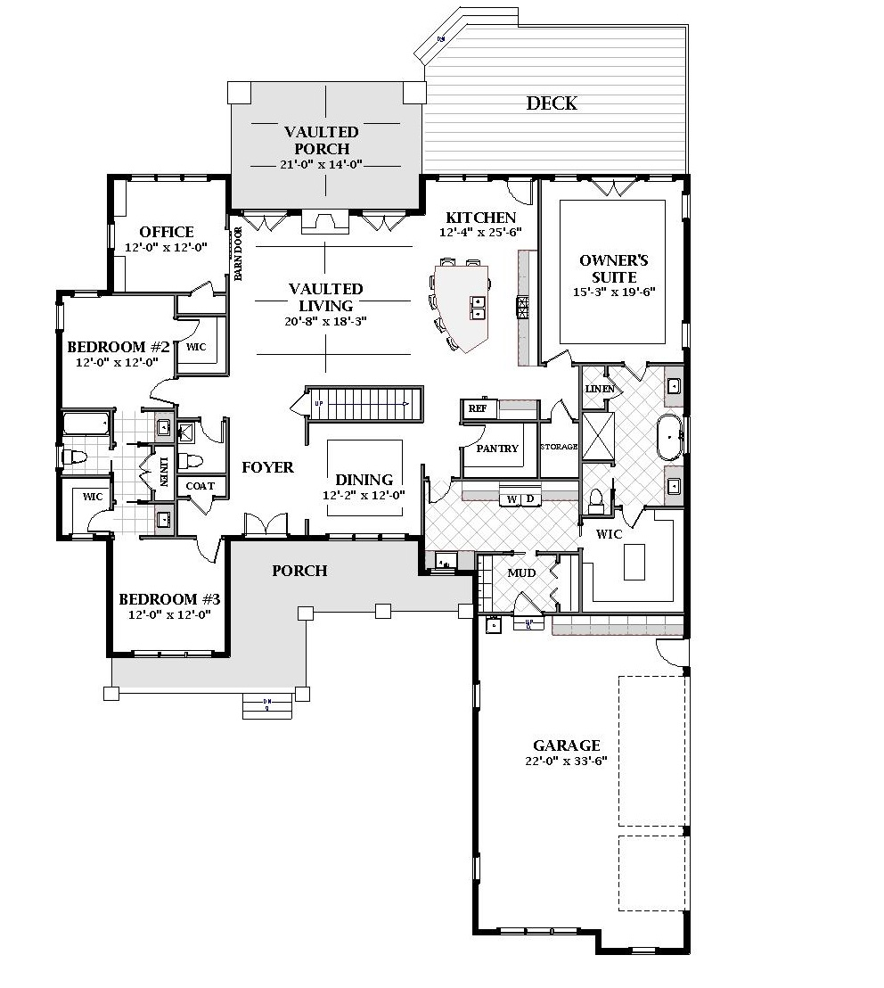 First Floor image of Featured House Plan: BHG - 7065