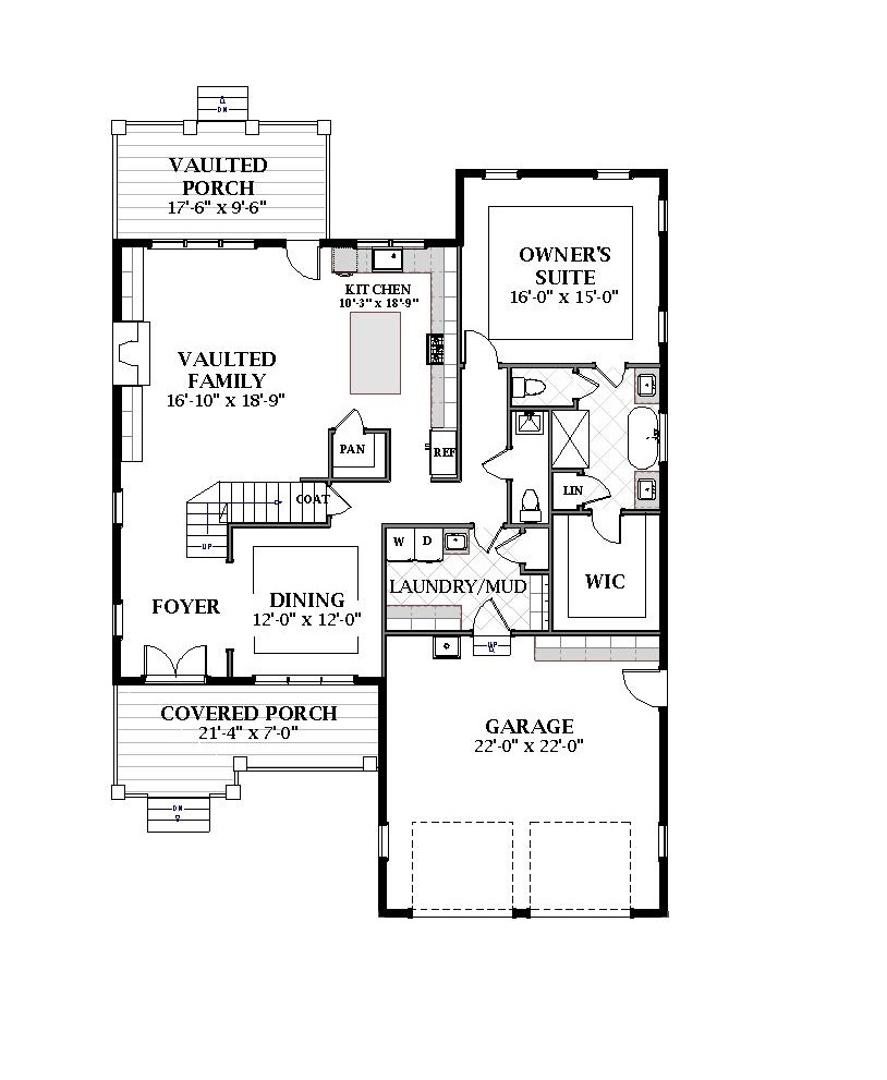 First Floor image of Featured House Plan: BHG - 7070